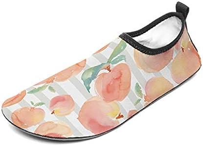 Wraill - Escarpines de playa, zapatos de agua, zapatos descalzados, acuarela, arte de melocotón, frutas, patucos de natación para mar o playa, surf blanco 34/35