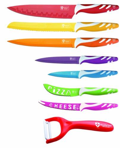 Set de 7 cuchillos con revestimiento de cerámica en color con pelador