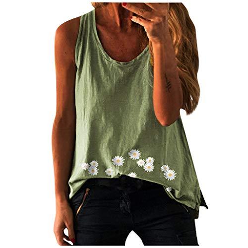 Yowablo Débardeur Femmes sans Manches Blouse D'été Cami Top Casual Mode Camisole Hauts Blouse Tops Mode Loose Daisy Imprimer sans Manches O-Neck Vest T-Shirt (3XL,Vert)