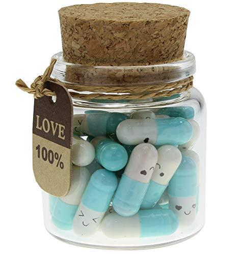 INFMETRY Capsule Letters Message in a Bottle Glass Favor Bottle (Light Blue 25pcs)