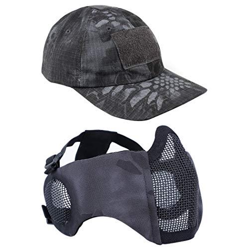 Airsoft - Máscara de malla con protección para los oídos y gorra de béisbol ajustable para CS/caza/paintball/tiro, TY