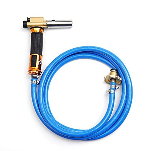 CNmuca Equipo de la máquina de la antorcha de Soldadura de Encendido electrónico de Gas propano licuado con Manguera de 2,5 m para soldar, soldar, cocinar, Calentar Azul