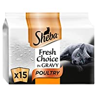 High quality adult Sheba Fresh Choice in Gravy cat food provides complete nutrition for your feline companion, ensuring they have all they need for a healthy life Delicately sliced pieces served in a tender gravy, Sheba 50 g pouches are an ideal serv...