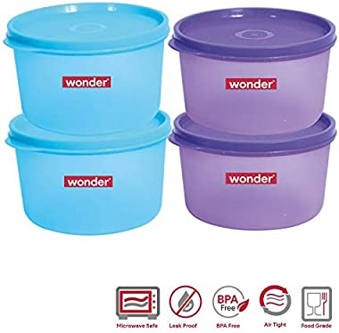 Wonder Plastic Prime Super Fresh 1000 Container Set, 4 Pcs Container 1000 ml, 2 Violet 2 Blue Color, Made In India, KBS02163