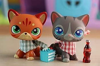 Judylovelps Custom Shorthair Cat 2pcs Kitten Stripe Shorthair Cat Fire-Star Shorthair Cat with lps Accessories Bandnas Drinks