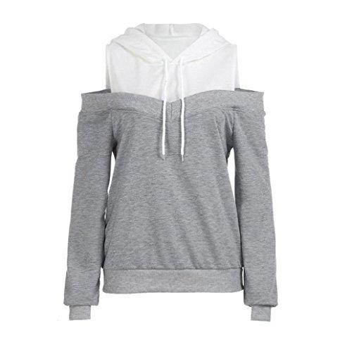 JUTOO Womens Schulterfrei Langarm Hoodie Sweatshirt mit Kapuze Pullover Tops Bluse(Grau,EU:40/CN:M)