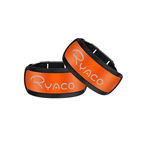 Ryaco Brazalete LED, Paquete de 2 brazaletes Luminosos Pulsera Deportiva con luz de Seguridad Tiras el Tobillo con Luces Intermitentes para Correr, Bicicleta, Hacer Ejercicio
