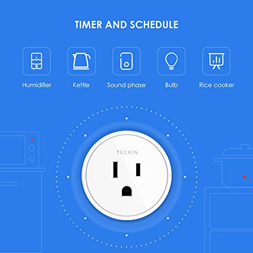 Smart Plug Works with Alexa Google Assistant for Voice Control, Teckin Mini Smart Outlet Wifi plug with Timer Function, No Hub Required, White FCC ETL Certified (4 pack)
