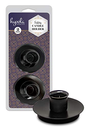 Hyoola Candle Drip Protectors - Reusable Metal Safety Candle Holder - Pin Holds Candles in Place - for 1/2 inch Diameter Candle - Black - 2 Pack