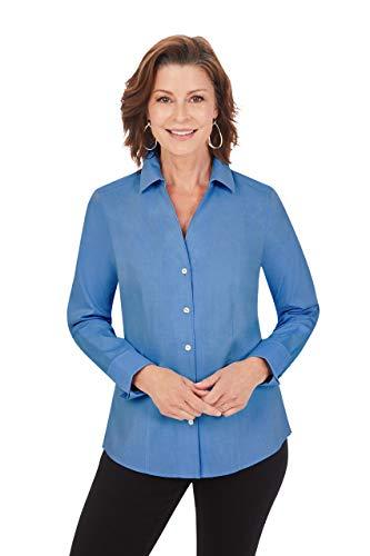 Foxcroft Damen Lauren Non-Iron Pinpoint LS Shirt Button Down Hemd, Mountain Blue, 44