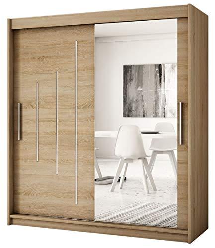 Kryspol Schwebetürenschrank York 2-150 cm mit Spiegel Kleiderschrank mit Kleiderstange und Einlegeboden Schlafzimmer- Wohnzimmerschrank Schiebetüren...