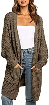 UEU Women's Open Front Chunky Knit Cardigan Sweater with Pockets