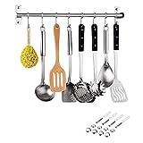Grizef Barra de acero inoxidable para colgar sartenes, 48 cm, organizador de utensilios de cocina con 8 ganchos extraíbles en U para toallas, sartenes, cucharas, abrigos, herramientas de barbacoa