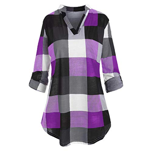 Plus Size Tunic Tops for Women's Roll Up Sleeve V-Neck Checked Plaid Printed Blouse T-Shirt Purple