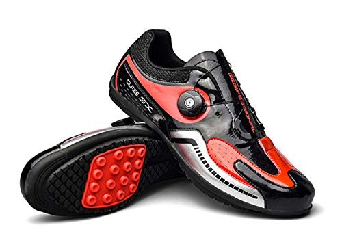 Zapatillas de Ciclismo Zapatillas de Deporte para Hombre Zapatillas de Bicicleta para Mujer Zapatillas de Bicicleta de Carreras Ligeras(46, Red)