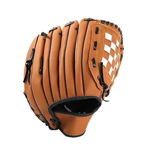 Guantes 12.5inch del Guante de béisbol Softball Tiro de la Mano Derecha Campo de Cuero sintético Maestro Guante de béisbol para Adultos y jóvenes Brown 1PC
