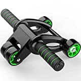 Ab Roller for Abs Exercise Workout Fitness -Ab Wheel Roller with Knee Mat and Resistance Bands Ab Wheel Roller with Knee Pad Mat,Core Muscle Ab Trainer, Ab Workout Equipment for Abdominal Exercise