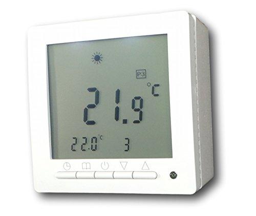 SM-PC®, Digital Thermostat ´Aufputz´ für Fussbodenheizung max 16A, großes Display, Wochenprogramm, weiße Hintergrundbeleuchtung #ap847