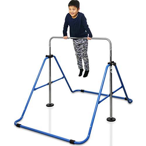 RiZKiZ Folding Iron Bar, Blue, SG Mark, Safe for Kids, Double Lock, Indoor, Outdoor, Folding, Height Adjustment, Double Lock