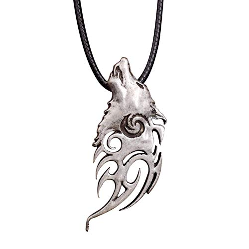 HAQUIL Wolf Necklace - Metal Alloy, Howling Wolf Spirit Pendant - PU Leather Cord, 19.7'
