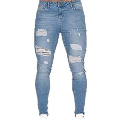Adelina heren Ripped Jeans Stretch Super Skinny Fit Jongens Jeans Heren Light Busted K
