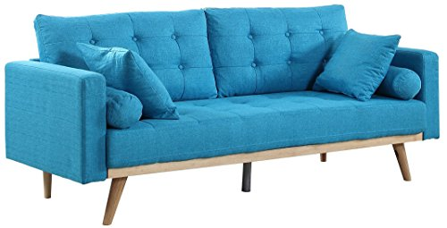 Divano Roma Furniture Madison Sofas, Light Blue