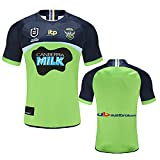 YAQA Camiseta De Rugby Raiders 2020-2021Home/Away Camiseta De Rugby Transpirable, Camiseta De Manga Corta Transpirable Hinchas Camiseta De Fútbol Away-Green-L