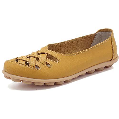 Mocasines de Cuero Mujer Loafers Casual Zapatos de Conducción Cómodos Zapatillas del Barco,Amarillo,37 EU