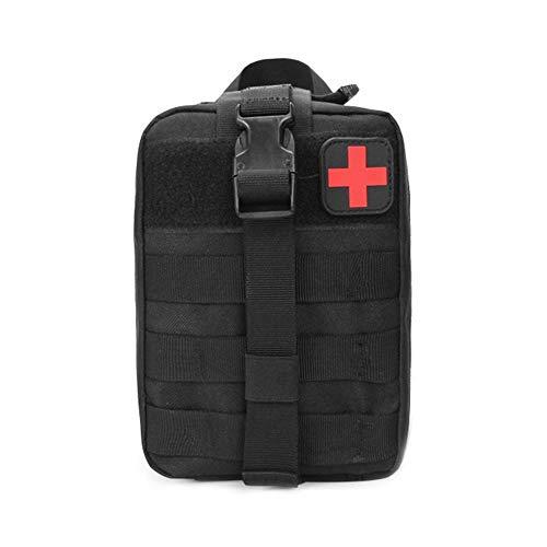 Bolsa de primeros auxilios, para viajes de agua al aire libre, tela Oxford, paquete de cintura táctico, bolsa de escalada negra, bolsa médica multiusos (negro)