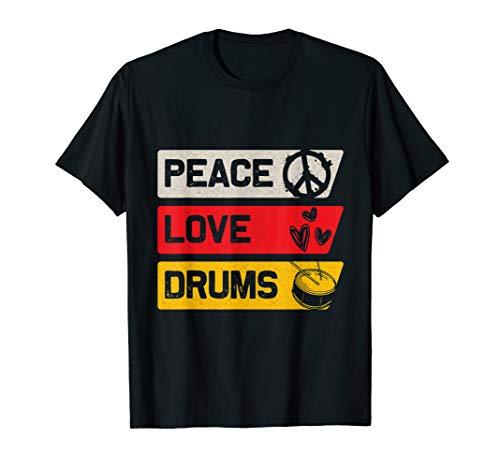 Peace Love Schlagzeug T-Shirt - Geschenk für Drummer