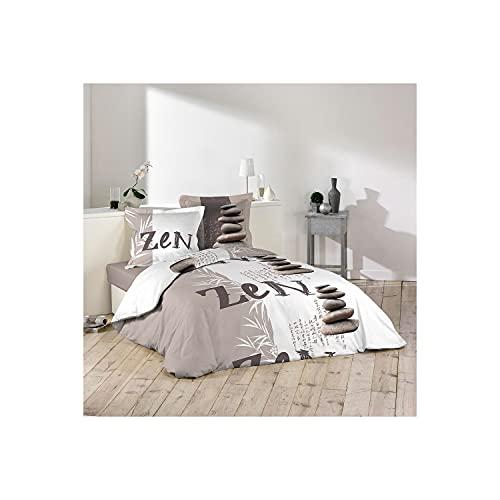 dkdo Housse de Couette - 220 x 240 cm + taies - Galets Zen