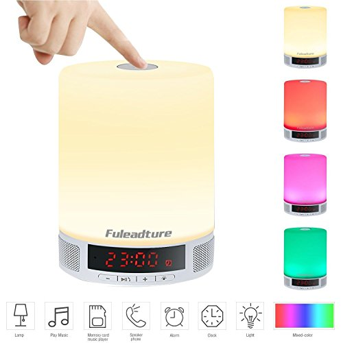 LED Bluetooth Speaker, Fuleadture All-in-1 Portable Wireless Speakers with LED Table Lamp, Alarm Clock, Hands-Free Speakerphone with Mic, Support TF Card...