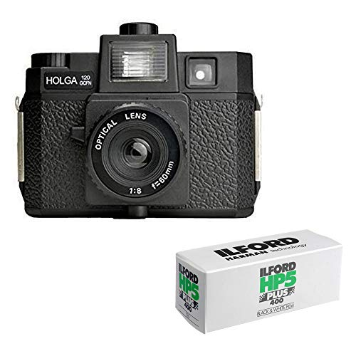 Holga 120GCFN Medium Format Film Camera with Ilford HP5 Plus Black and White Negative Film (120 Roll Film) Bundle