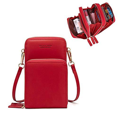 Damen Handytaschen Umhängetasche Kunstleder Schultertasche 3 Reißverschluss Beutel mit Vielen Fächern Kartenfach Geldbörse Portemonnaie für iPhone 5/6/7/8/X Plus Samsung S5/S6/S7 bis 6.5