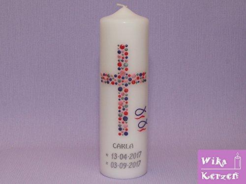 Taufkerze Kommunionkerze Mädchen Junge mit Name und Datum 25x8cm mm Taufe Kerze Kreuz-Kreise-14 Rosa Lila Rot Silber