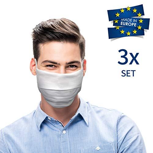 Pante® alledaagse masker voor mond en neus. Masker wasbaar op 60 graden, tot 130 graden strijkbaar. 3-delige set. Gemaakt in Europa.