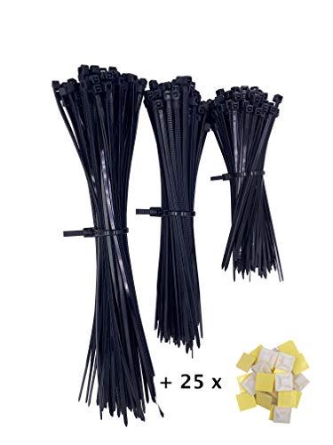 Premium Kabelbinder Set (300 Stück, 100,150,200 mm) in Schwarz mit 25x Klebesockel (selbstklebend), UV Beständig