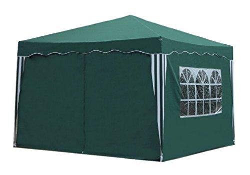 Kronenburg Faltpavillon WASSERDICHT Dachmaß 3 x 3 m UV Schutz 50+ Pavillon in Grün mit 4 Seitenteilen