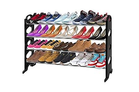 BAAB Organizador de zapatos de 4 niveles, extensible y apilable, montaje rápido, no requiere herramientas, capacidad para 24 pares, 67,5 – 110 cm x 30 cm x 68 cm