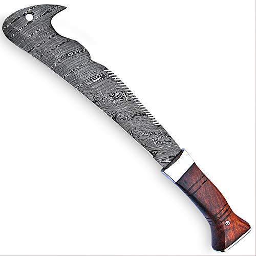 Smi Gudys Machete with Sheath - Damascus Steel Full Tang Machete Knife - Handmade Forged Jungle Master Survival Tool - Bushcraft Hunting Machete for...