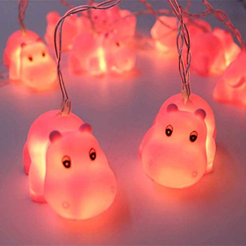 1.5m Battery Powered Cute Animal Pink Hippo Shape 10 LED Fairy Lights String Lights for Halloween Christmas Thanksgiving Home Party Children Kids Bedroom Decoration (Hippo)