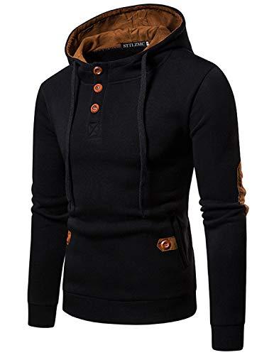 STTLZMC Homme Hiver Chaud Polaires Doublé Sweats à Capuche Cotton Manteaux Doux Blousons Sweat-Shirts Outwear Tops,Noir 1,M