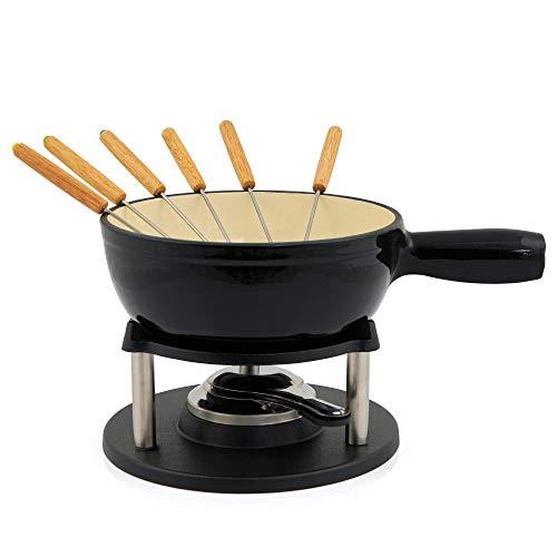 BBQ-Toro Gusseisen Fondue Set für 6 Personen Fondueset 9 teilig mit Brenner und Gabeln Füllmenge 2 Liter Käse Schokolade Induktion (schwarz/creme emailliert)