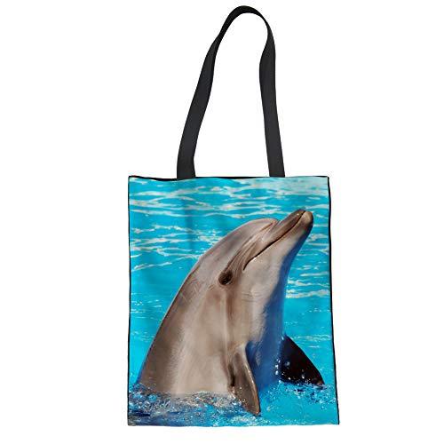 Showudesigns Sac fourre-tout réutilisable avec poignées Motif dauphin