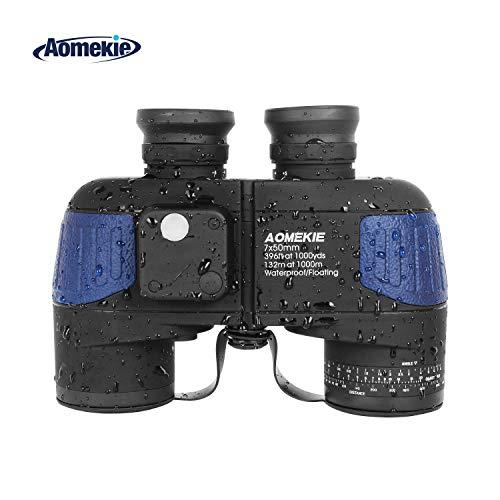 Aomekie Prismáticos Marinos 7X50 Prismaticos Militares BAK4 Porro Prism con Visor Interno y Brújula Impermeable a Prueba de Niebla y Flotante (Azul)