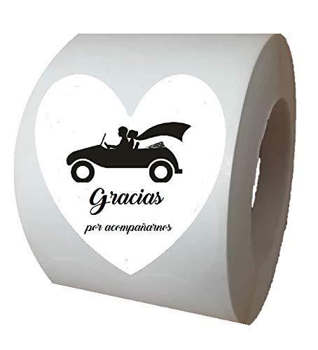 100 etiquetas nupcial adhesivas para boda, Gracias por acompañarnos Español