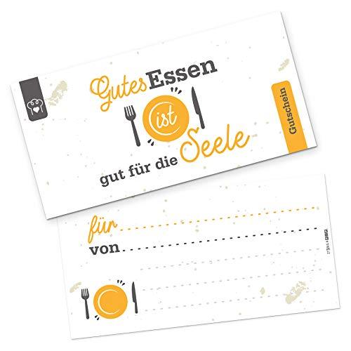 itenga Geschenkgutschein Verpackung I Geschenkkarte I Motiv Gutes Essen ist gut für die Seele I Gutschein I 21,0 x 10,5 cm I Postkarte zum Ausfüllen