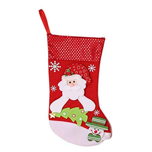 Amosfun Calze Natalizie Stoviglie Natalizie Posate Porta Posate Caramelle Babbo Natale Sacchetto Regalo Albero di Natale Decorazioni da Appendere per Casa Negozio Bar