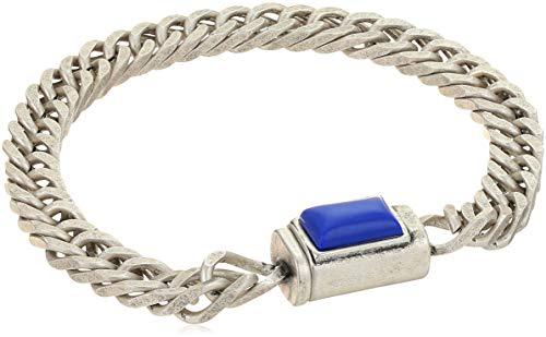 Steve Madden - Pulsera de Cadena de eslabones para Hombre, diseño Rectangular de lapislázuli Azul de imitación, en Acero Inoxidable, Tono Plateado, Talla única