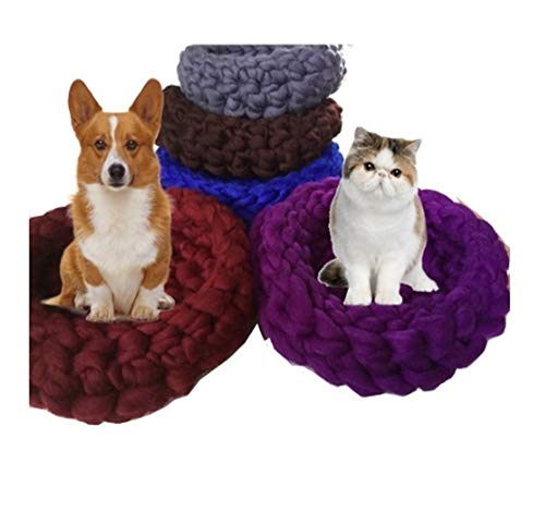 YSJ LTD Hand-Woven-Huisdier-kat-bed Kleine hond puppy kennel iselijke wol bed pet mat cat house cat slaapzak warm nest hoge kwaliteit 50x50 grijs